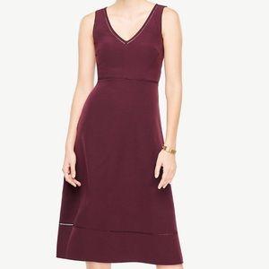 Ann Taylor Mulled Wine Lace Trim Midi Flare Dress